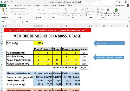 Capture d'écran Médecine du Sport – Masse grasse – Méthode 4 plis cutanés