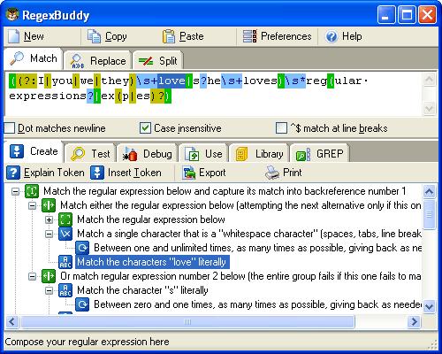 Capture d'écran RegexBuddy