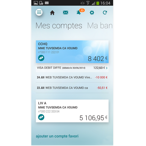 Capture d'écran Ma Banque – Credit Agricole iOS