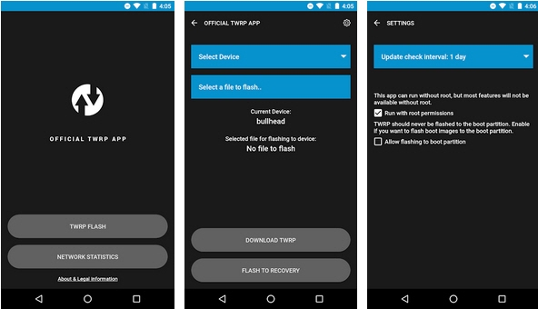 Capture d'écran Official TWRP App Android
