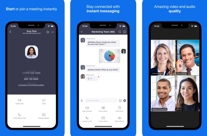 Capture d'écran Zoom iOS – Visioconférence d'entreprise