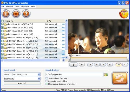 Capture d'écran SoftPepper DVD to MPEG Converter
