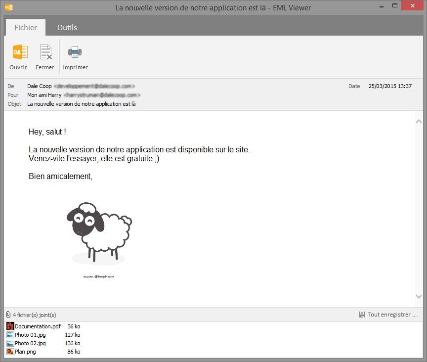 Capture d'écran EML Viewer