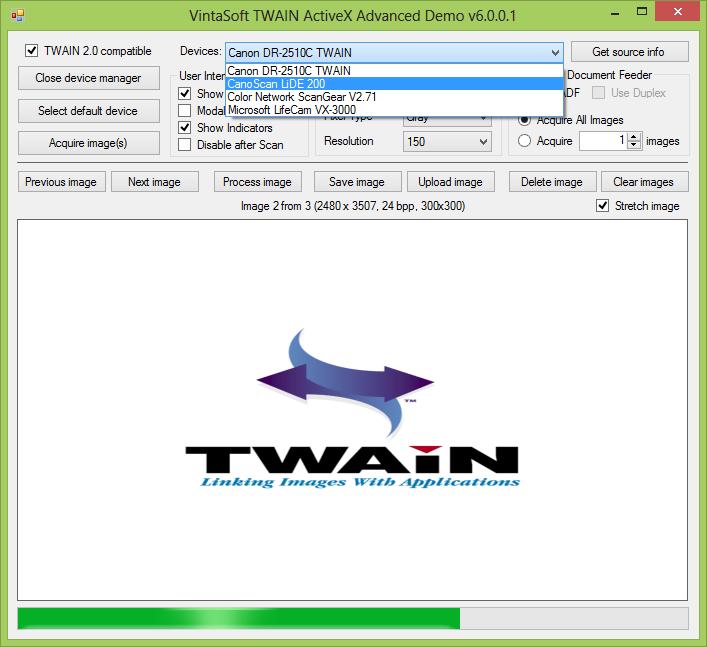 Capture d'écran VintaSoftTwain ActiveX Control