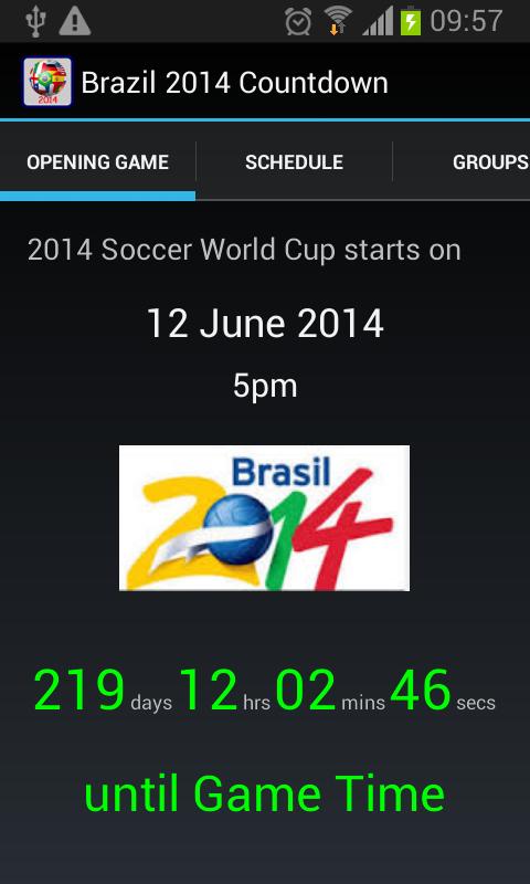 Capture d'écran Brazil 2014 Countdown Android