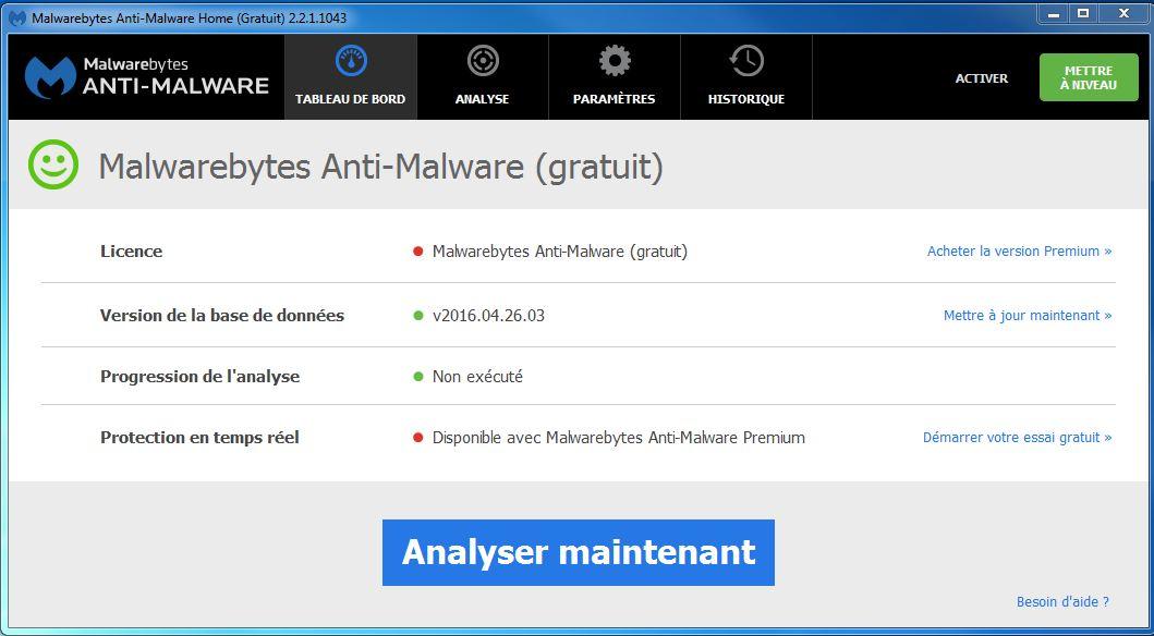 Capture d'écran MalwareBytes Anti-Malware Premium