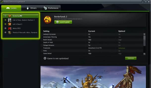 Capture d'écran GeForce Experience