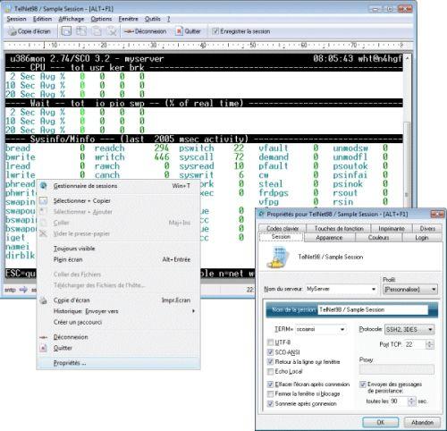 Capture d'écran Erics TelNet98