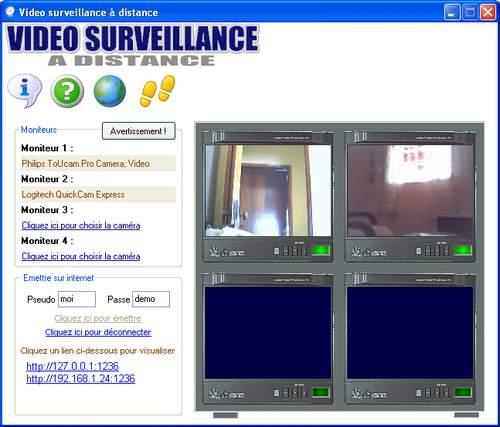 Capture d'écran Video surveillance a distance