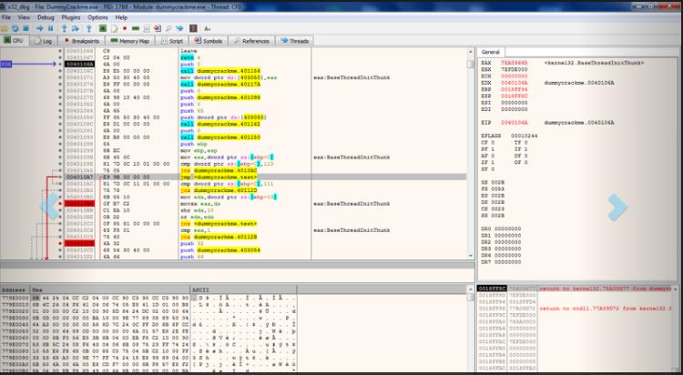 Capture d'écran x64dbg