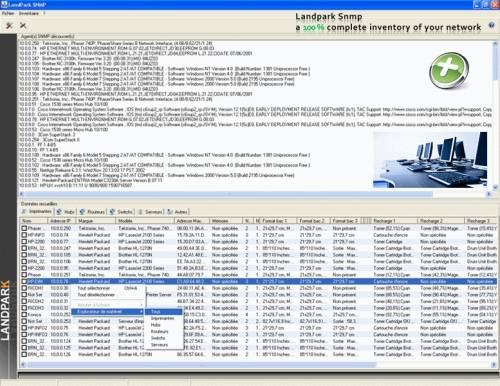 Capture d'écran LANDPARK SNMP