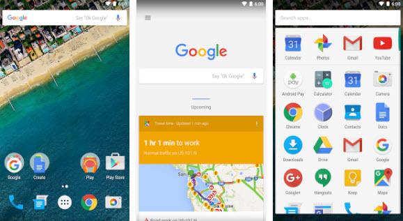 Capture d'écran Google Now Launcher Android