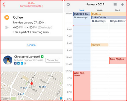 Capture d'écran Sunrise Calendar iOS