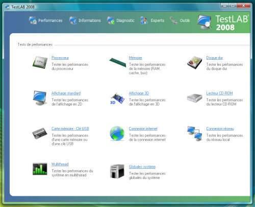 Capture d'écran TestLAB 2008