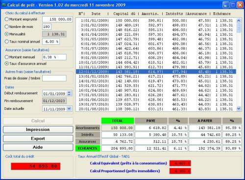 Capture d'écran Calcul de prêt