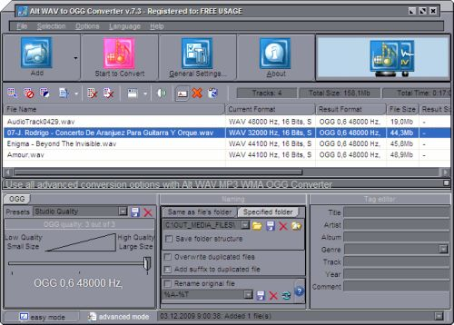 Capture d'écran Alt WAV to OGG Converter