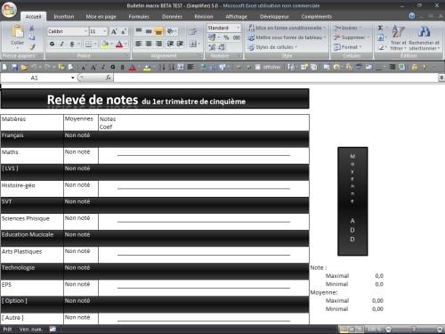 Capture d'écran Bulletin Macro