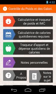 Capture d'écran Contrôle du Poids Calories