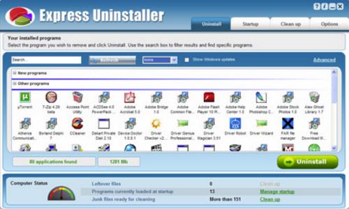 Capture d'écran Express Uninstaller