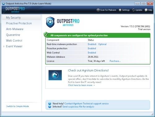 Capture d'écran Agnitum Outpost Antivirus Pro