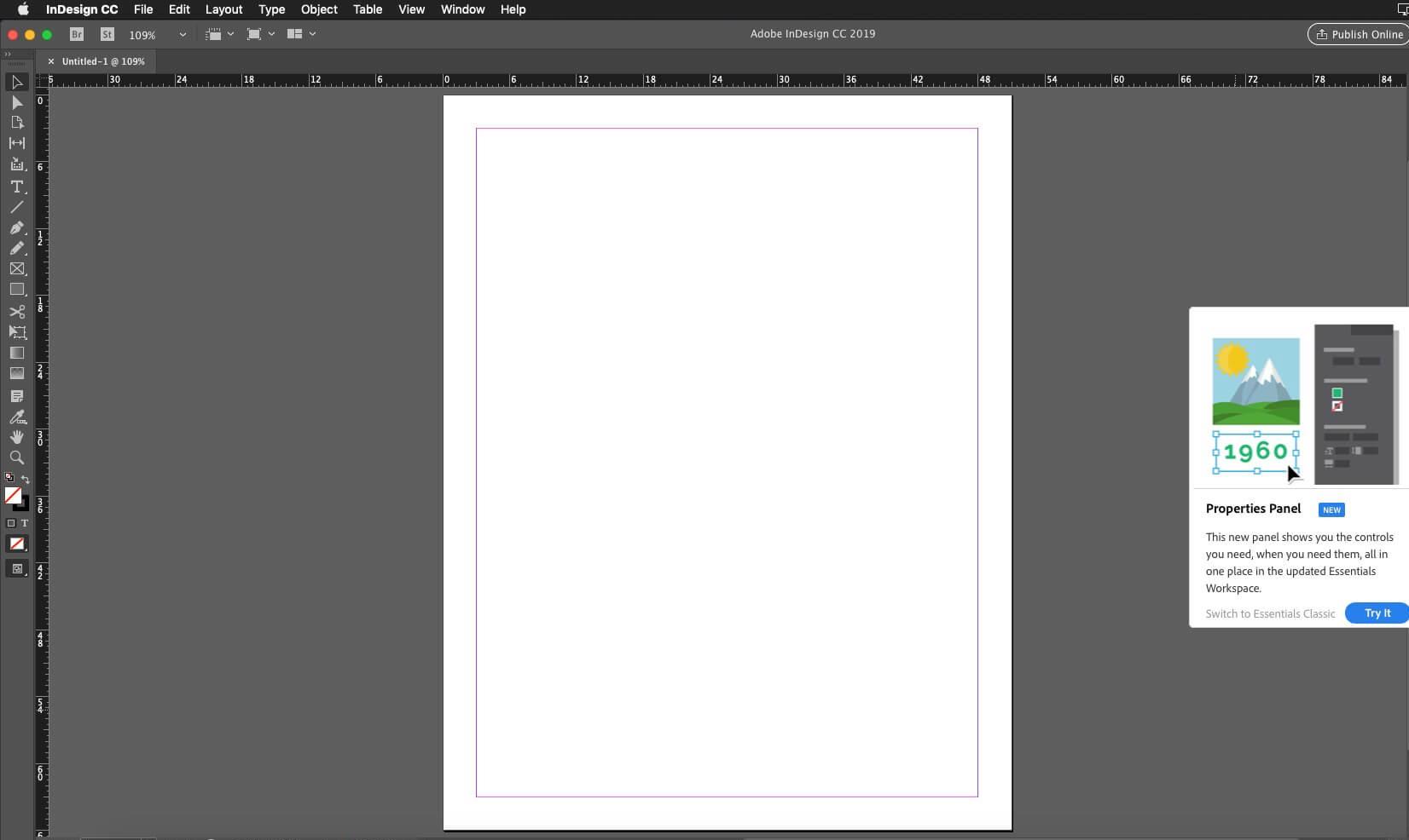 Capture d'écran Adobe InDesign CC Mac