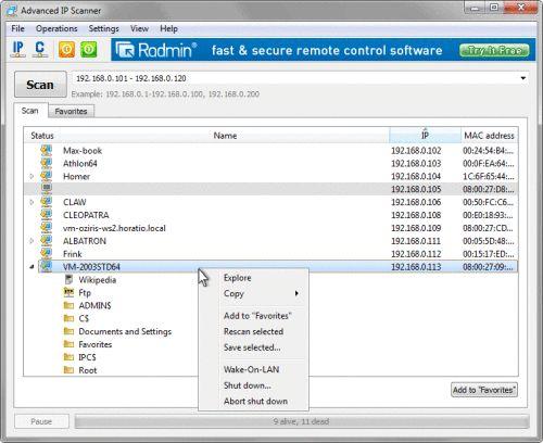 Capture d'écran Advanced IP Scanner