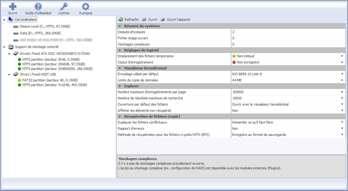 Capture d'écran Récupérateur de données Family