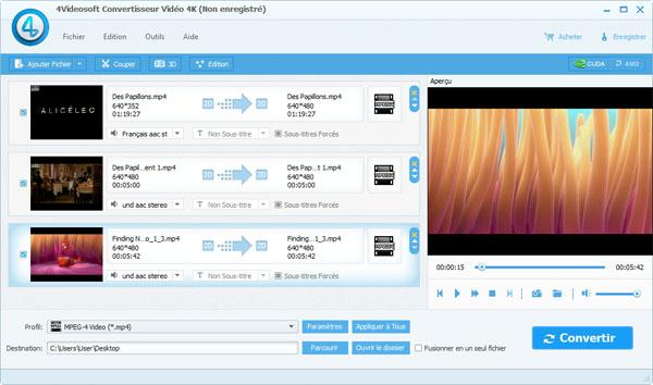 Capture d'écran 4Videosoft Convertisseur Vidéo 4k
