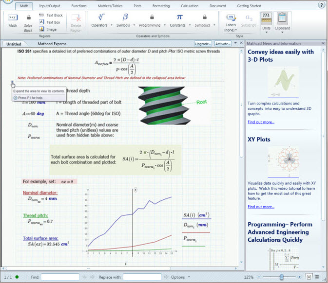 Capture d'écran PTC Mathcad Express 3.1