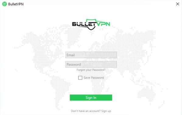 Capture d'écran BulletVPN Mac