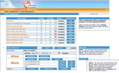 Capture d'écran Cyclope Internet Filtering Proxy