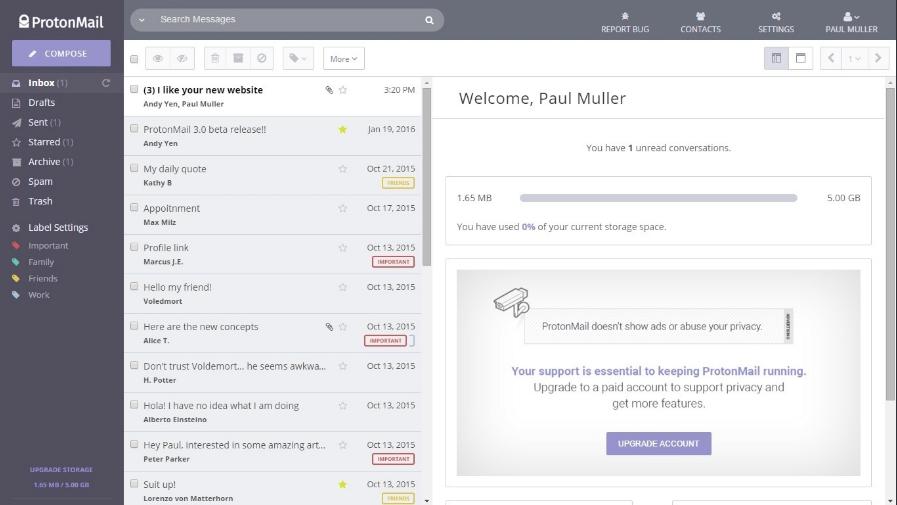 Capture d'écran ProtonMail