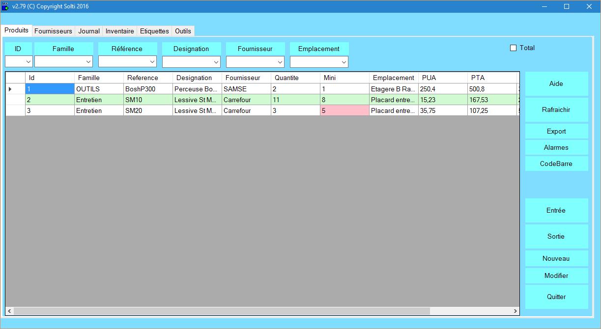 Capture d'écran Gestion Stock Modulaire