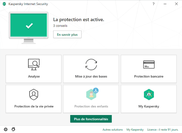 Capture d'écran Kaspersky Internet Security 2020