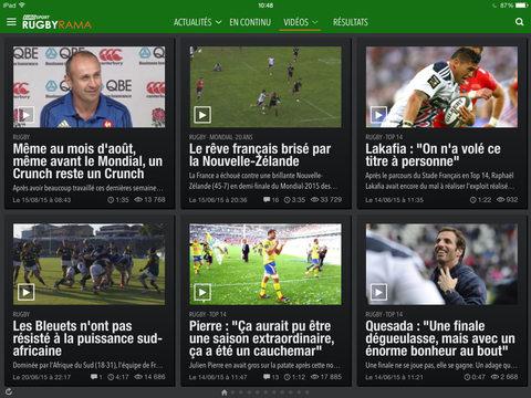 Capture d'écran Rugbyrama iOS