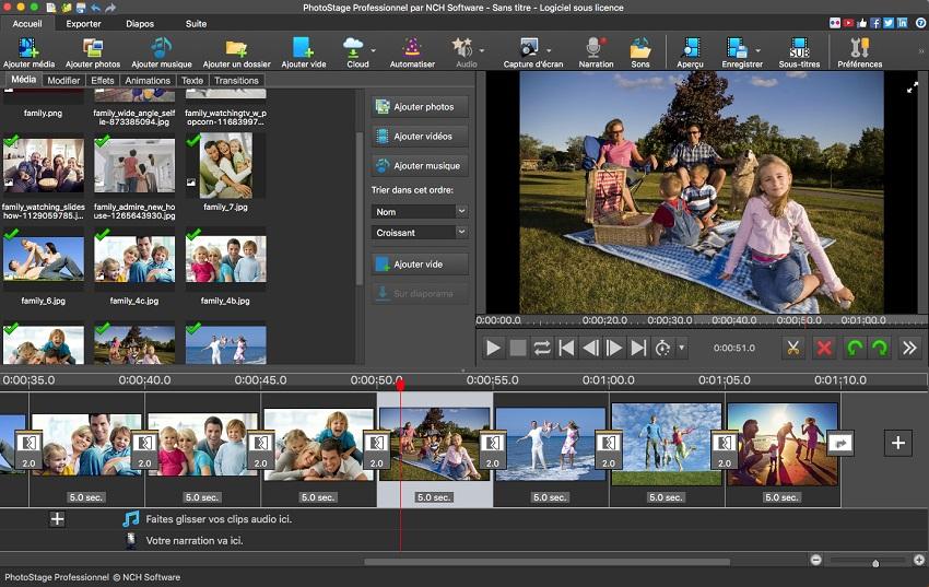Capture d'écran PhotoStage – Logiciel de diaporamas photographiques pour Mac