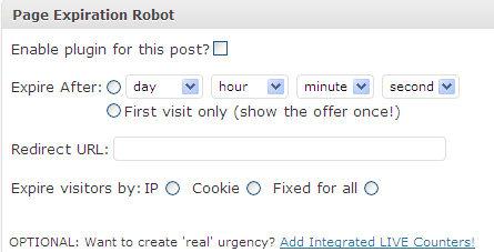 Capture d'écran Page Expiration Robot WP Plugin