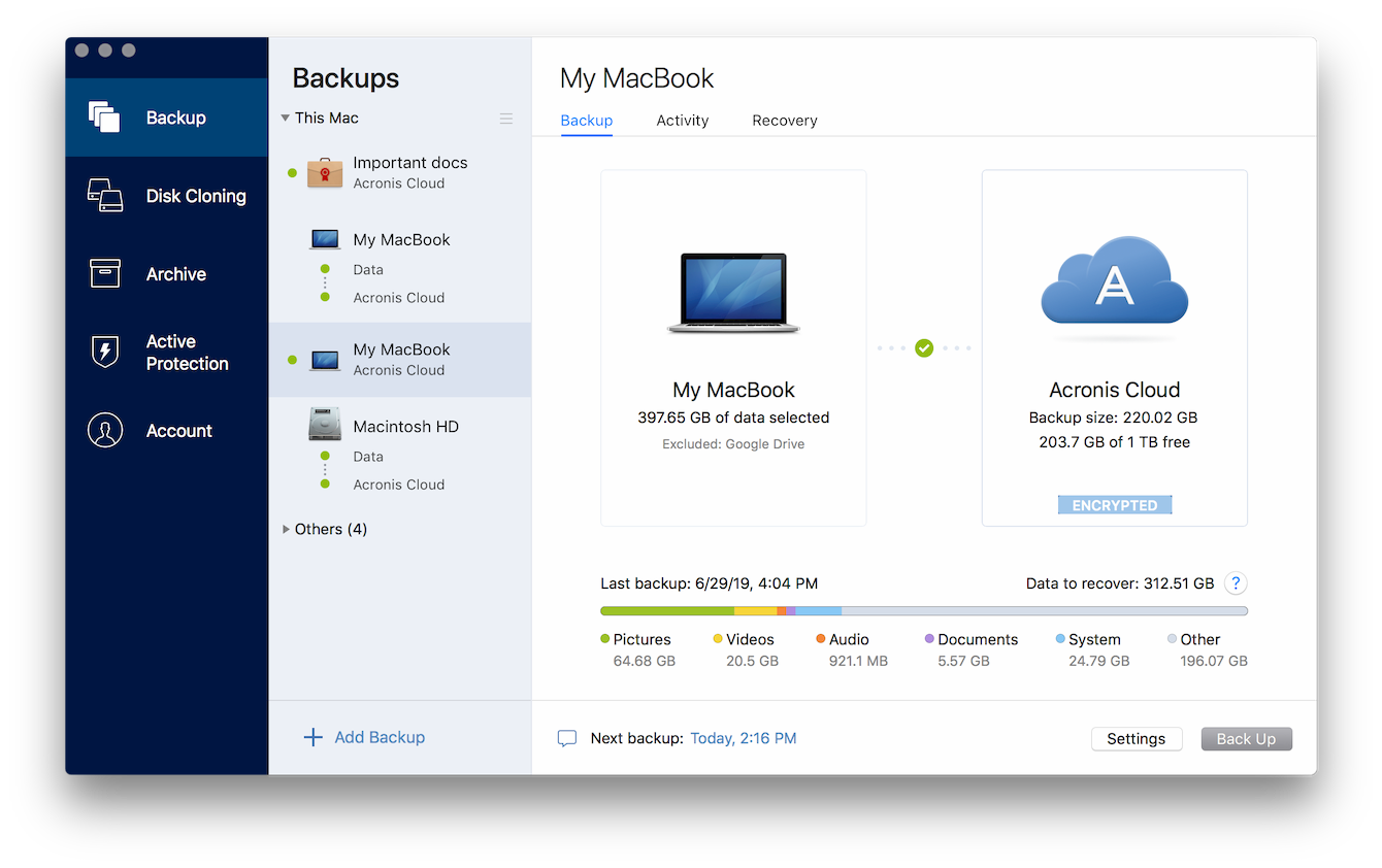 Capture d'écran Acronis True Image for Mac