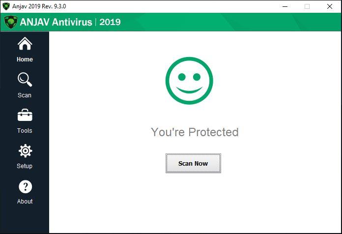 Capture d'écran ANJAV Antivirus 2019