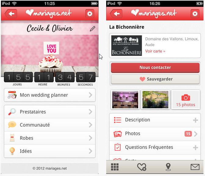 Capture d'écran Mariage.net iOS