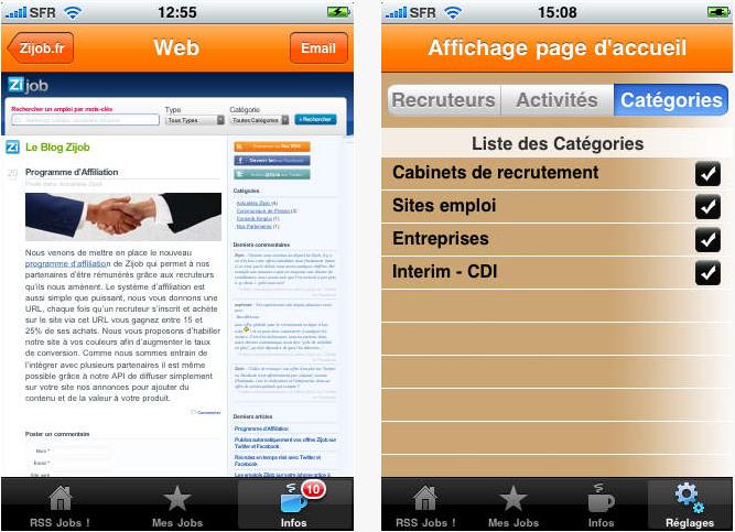 Capture d'écran RSS Jobs! iOS