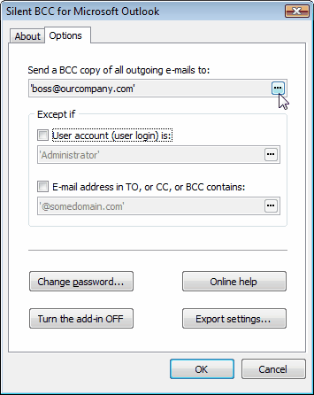 Capture d'écran Silent BCC for Microsoft Outlook