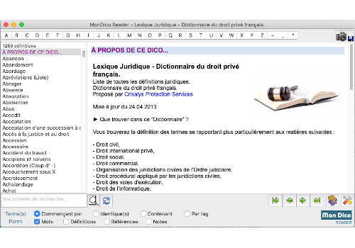 Capture d'écran Mondico Reader Mac