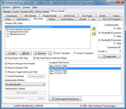 Capture d'écran ServeTrue Reverse IQProxy
