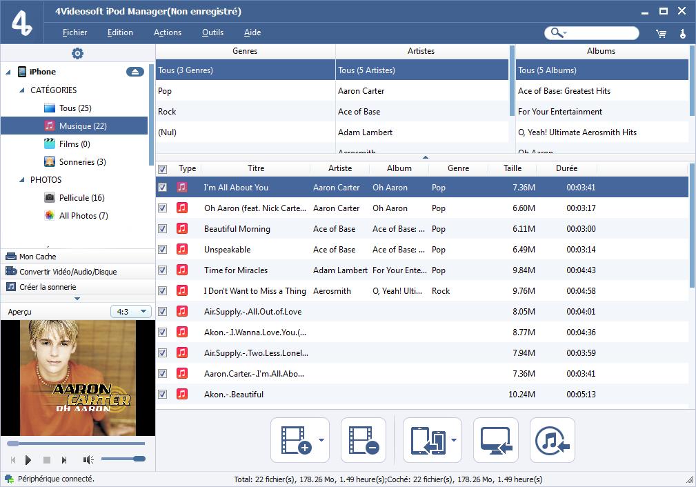 Capture d'écran 4Videosoft iPod Manager