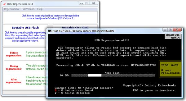 Capture d'écran HDD Regenerator