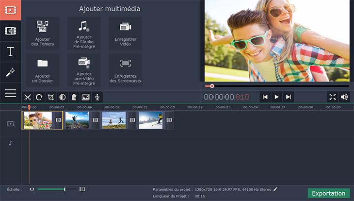 Capture d'écran Movavi Video Editor