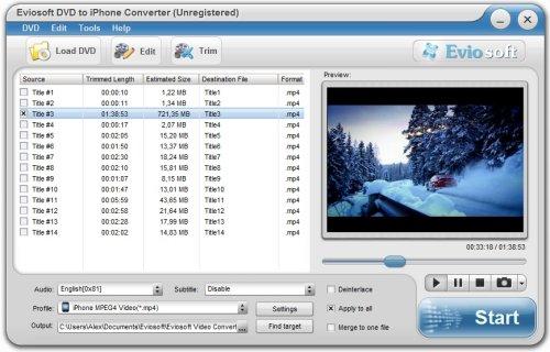 Capture d'écran Eviosoft DVD to iPhone Converter