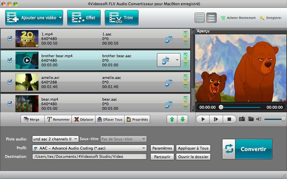 Capture d'écran 4Videosoft FLV Audio Convertisseur Mac