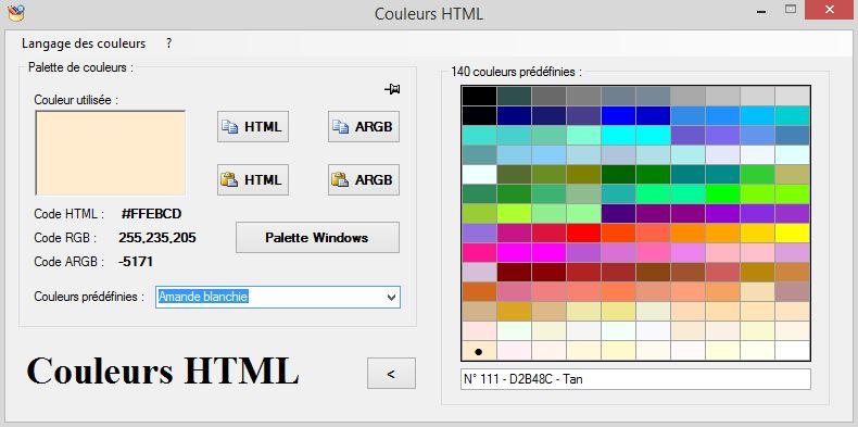 Capture d'écran Couleurs HTML